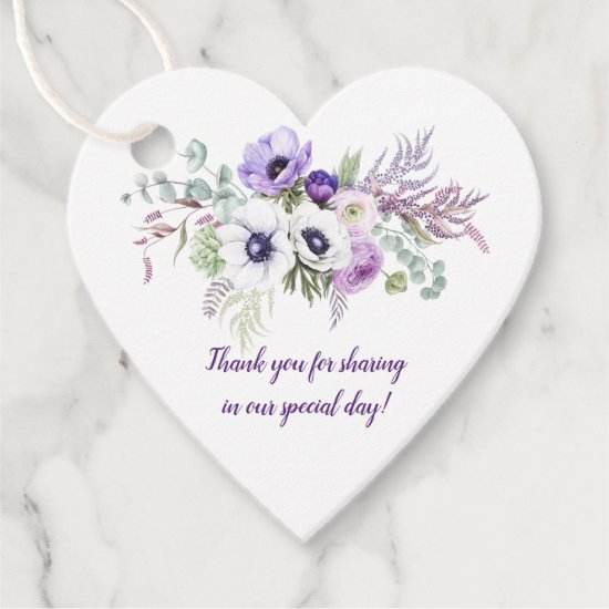 Heart-Shaped Purple Lavender White Floral Wedding Favor Tags