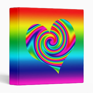 Heart Shaped Rainbow Twirl 3 Ring Binders
