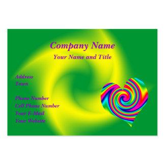 Heart Shaped Rainbow Twirl Business Card Templates