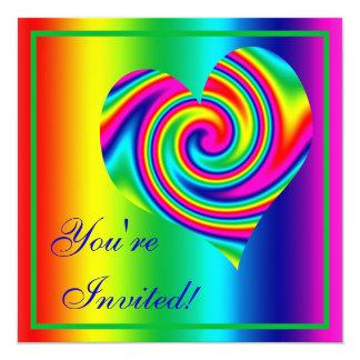 Heart Shaped Rainbow Twirl Card