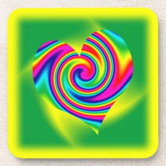 Heart Shaped Rainbow Twirl Coaster
