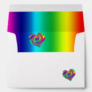 Heart Shaped Rainbow Twirl Envelopes