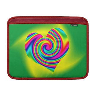 Heart Shaped Rainbow Twirl MacBook Sleeves