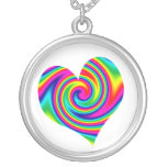 Heart Shaped Rainbow Twirl Necklaces