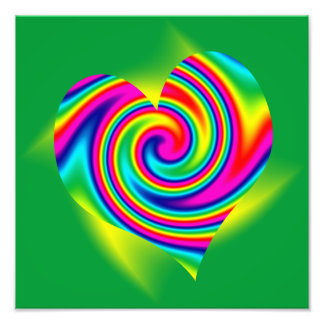 Heart Shaped Rainbow Twirl Art Photo