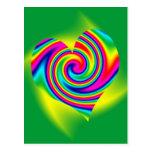 Heart Shaped Rainbow Twirl Postcard