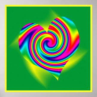 Heart Shaped Rainbow Twirl Poster