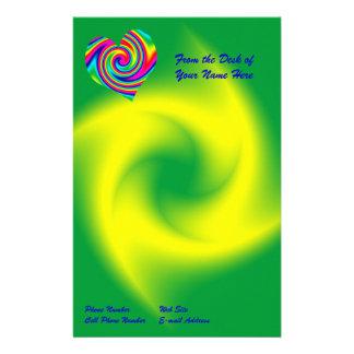 Heart Shaped Rainbow Twirl Stationery Design