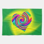 Heart Shaped Rainbow Twirl Towel