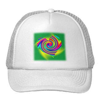 Heart Shaped Rainbow Twirl Trucker Hat