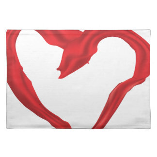 Heart shaped red scarf cloth placemat