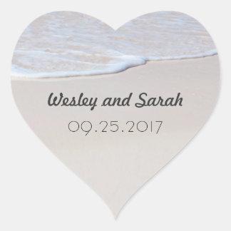 Heart Shaped Sandy Beach Wedding Stickers