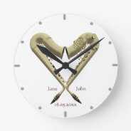Heart Shaped Saxophones Wall Clock For Couples at Zazzle