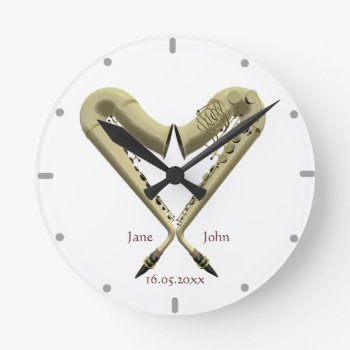Heart Shaped Saxophones Wall Clock For Couples by DigitalDreambuilder at Zazzle