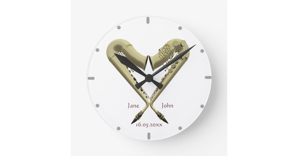 Heart Shaped Saxophones Wall Clock For Couples Zazzle