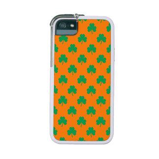 Heart-Shaped Shamrock Green on Orange St.Patrick's iPhone 5 Cases