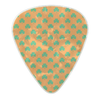 Heart-Shaped Shamrock Green on Orange St.Patrick's Pearl Celluloid Guitar Pick