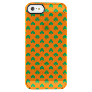 Heart-Shaped Shamrock Green on Orange St.Patrick's Uncommon Clearly™ Deflector iPhone 5 Case