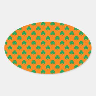 Heart-Shaped Shamrock Green on Orange St.Patrick's Oval Sticker