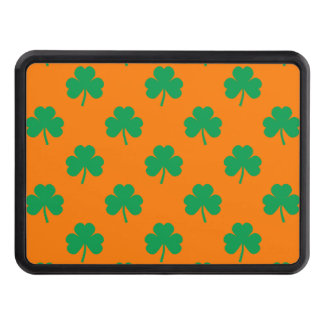 Heart-Shaped Shamrock Green on Orange St.Patrick's Tow Hitch Covers