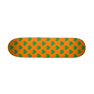 Heart-Shaped Shamrock Green on Orange St.Patrick's Skate Decks