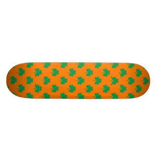 Heart-Shaped Shamrock Green on Orange St.Patrick's Skateboard Deck