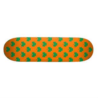 Heart-Shaped Shamrock Green on Orange St.Patrick's Skate Boards