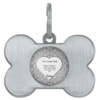 Heart-Shaped Silver Ornate Template Pet Tag