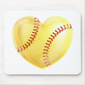 Heart Shaped Softball Mouse Pad