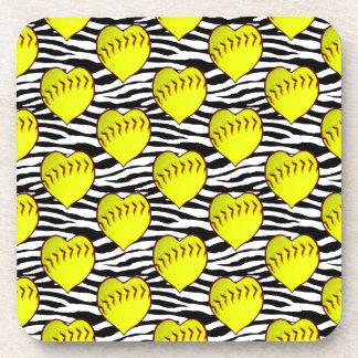Heart Shaped Softballs On Zebra Pattern Beverage Coaster
