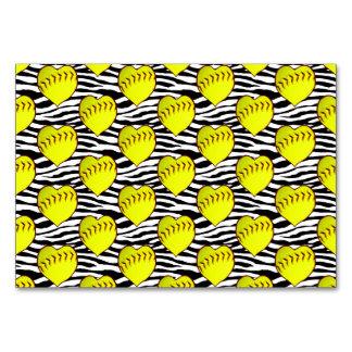 Heart Shaped Softballs On Zebra Pattern Card