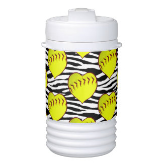Heart Shaped Softballs On Zebra Pattern Cooler