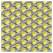 Heart Shaped Softballs On Zebra Pattern Fabric