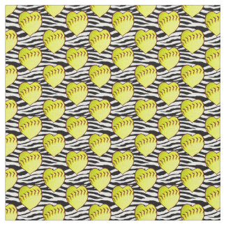 Heart Shaped Softballs On Zebra Pattern Fabric