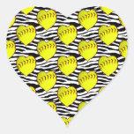Heart Shaped Softballs On Zebra Pattern Heart Sticker