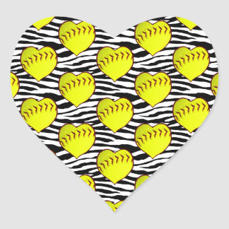 Heart Shaped Softballs On Zebra Pattern Heart Sticker