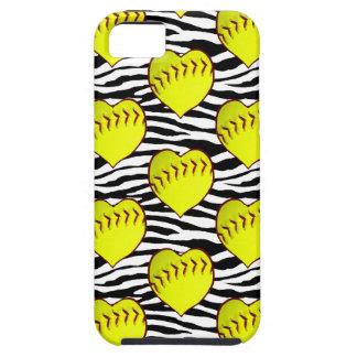 Heart Shaped Softballs On Zebra Pattern iPhone SE/5/5s Case