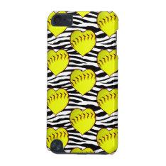 Heart Shaped Softballs On Zebra Pattern Ipod Touch (5th Generation) Case at Zazzle