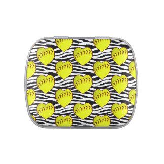 Heart Shaped Softballs On Zebra Pattern Jelly Belly Candy Tins