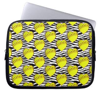 Heart Shaped Softballs On Zebra Pattern Laptop Computer Sleeve
