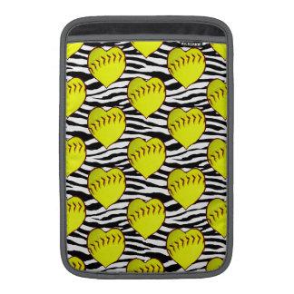 Heart Shaped Softballs On Zebra Pattern MacBook Sleeve
