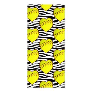 Heart Shaped Softballs On Zebra Pattern Full Color Rack Card