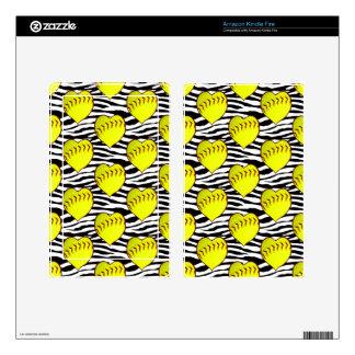Heart Shaped Softballs On Zebra Pattern Skins For Kindle Fire