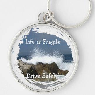 Heart-Shaped Splash; Customizable Silver-Colored Round Keychain