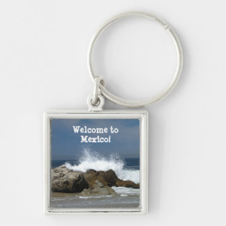 Heart-Shaped Splash; Mexico Souvenir Keychain