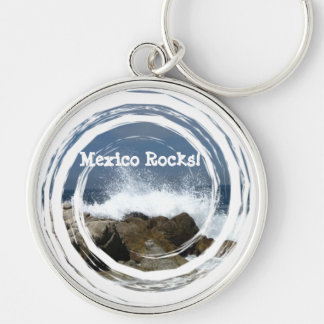 Heart-Shaped Splash; Mexico Souvenir Silver-Colored Round Keychain