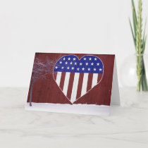 Heart-Shaped Stars and Stripes Holiday Card