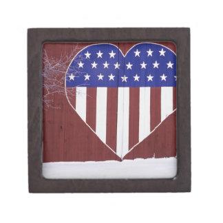 Heart-Shaped Stars and Stripes Keepsake Box