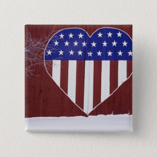 Heart-Shaped Stars and Stripes Pinback Button