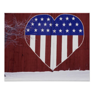 Heart-Shaped Stars and Stripes Poster